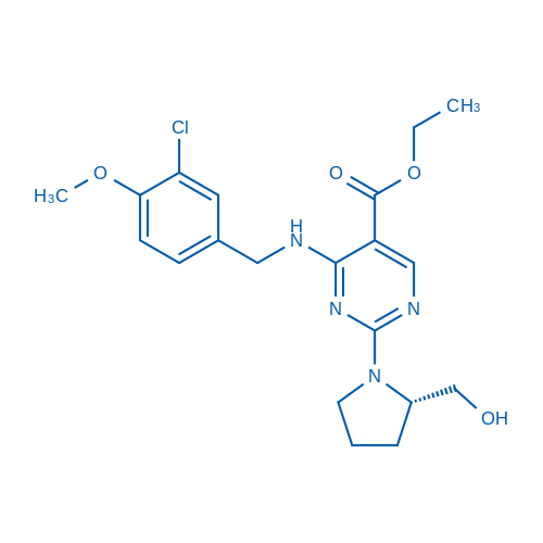 (S)-Ethyl 4-((3-chloro-4-methoxybenzyl)amino)-2-(2-(hydroxymethyl)pyrrolidin-1-yl)pyrimidine-5-carboxylate