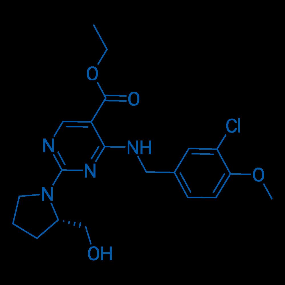 (S)-Ethyl 4-((3-chloro-4-methoxybenzyl)amino)-2-(2-(hydroxymethyl)pyrrolidin-1-yl)pyrimidine-5-carboxylate