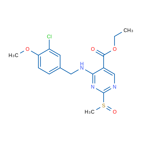 Ethyl 4-((3-chloro-4-methoxybenzyl)amino)-2-(methylsulfinyl)pyrimidine-5-carboxylate