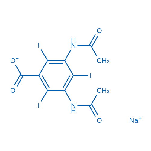 Sodium 3,5-diacetamido-2,4,6-triiodobenzoate