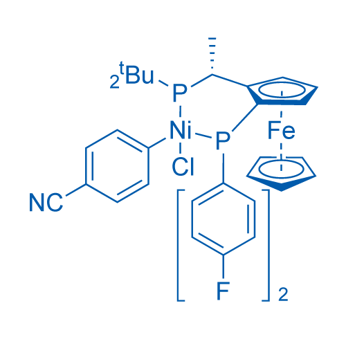 Chloro(4-cyanophenyl){(R)-1-[(S)-2-(bis(4-fluorophenyl)phosphinoferrocenyl]ethyl(di-t-butylphosphine)}nickel(II)