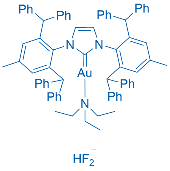 [1,3-Bis[2,6-bis(diphenylmethyl)-4-methylphenyl]-1,3-dihydro-2H-imidazol-2-ylidene]hydroxygold-HF