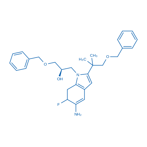 (2R)-1-(5-Amino-2-(1-(benzyloxy)-2-methylpropan-2-yl)-6-fluoro-6,7-dihydro-1H-indol-1-yl)-3-(benzyloxy)propan-2-ol