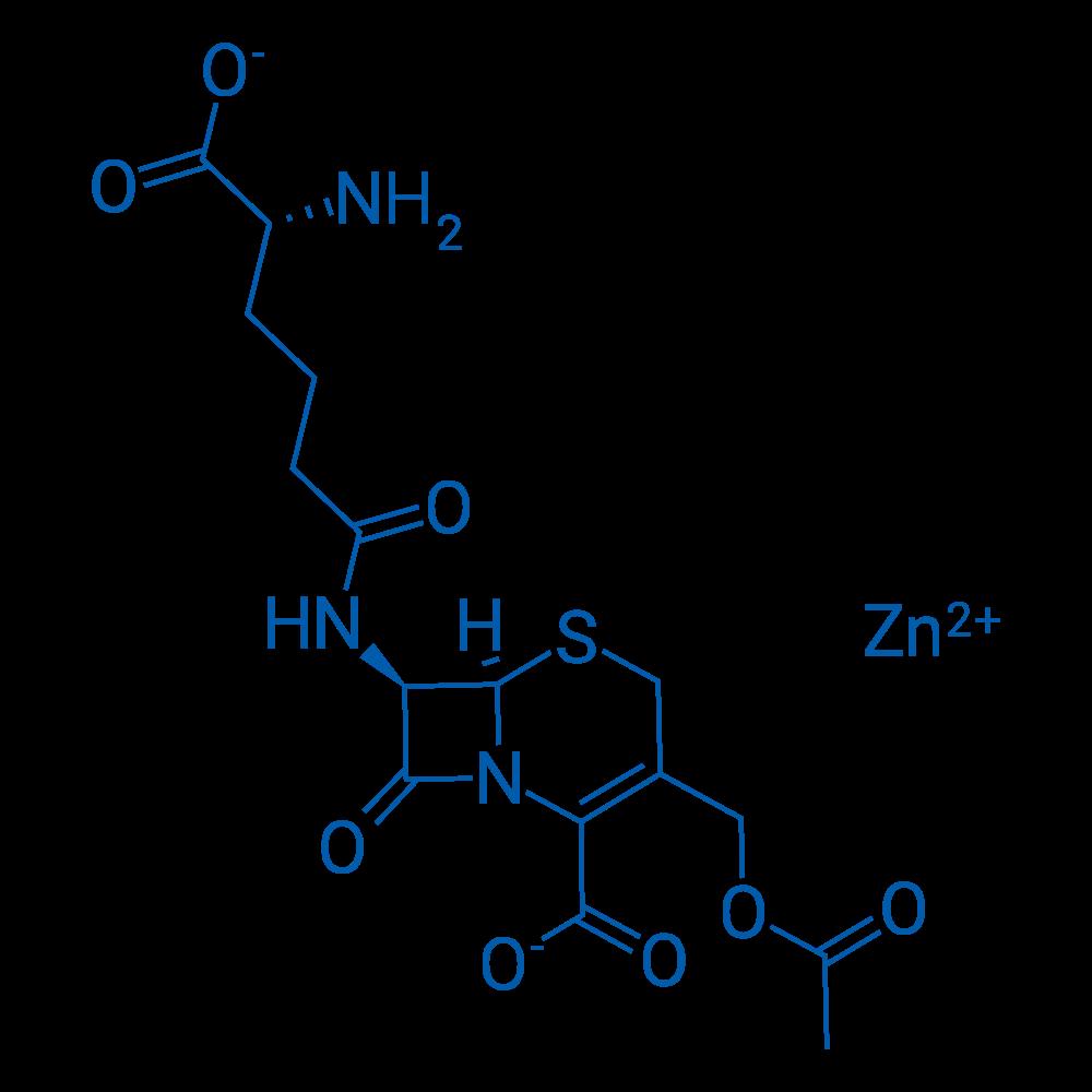 Zinc(II) (6R,7R)-3-(acetoxymethyl)-7-((R)-5-amino-5-carboxylatopentanamido)-8-oxo-5-thia-1-azabicyclo[4.2.0]oct-2-ene-2-carboxylate