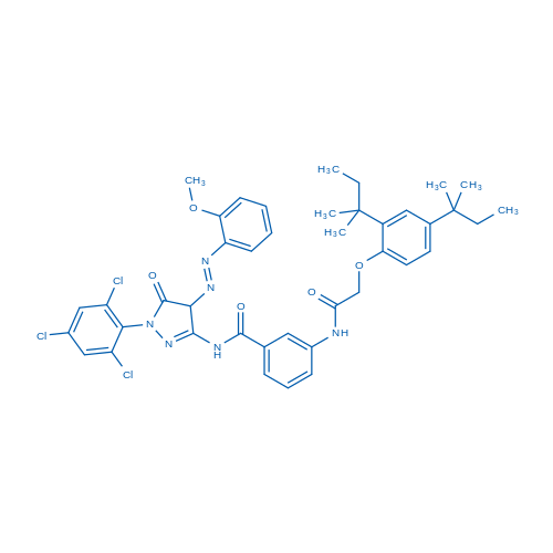3-(2-(2,4-Di-tert-pentylphenoxy)acetamido)-N-(4-((2-methoxyphenyl)diazenyl)-5-oxo-1-(2,4,6-trichlorophenyl)-4,5-dihydro-1H-pyrazol-3-yl)benzamide