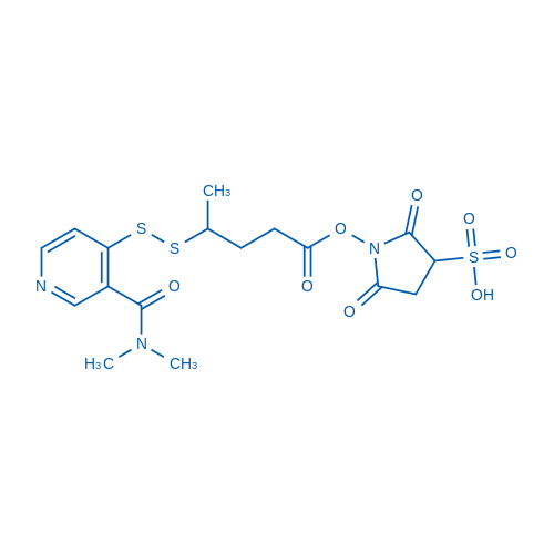 1-(4-((3-(dimethylcarbamoyl)pyridin-4-yl)disulfanyl)pentanoyloxy)-2,5-dioxopyrrolidine-3-sulfonic acid