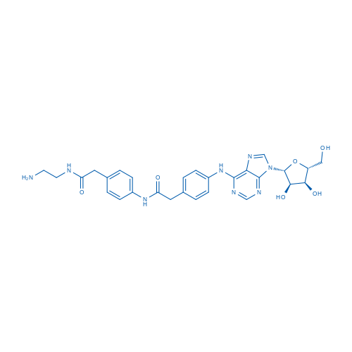 N-(2-Aminoethyl)-2-(4-(2-(4-((9-((2R,3R,4S,5R)-3,4-dihydroxy-5-(hydroxymethyl)tetrahydrofuran-2-yl)-9H-purin-6-yl)amino)phenyl)acetamido)phenyl)acetamide