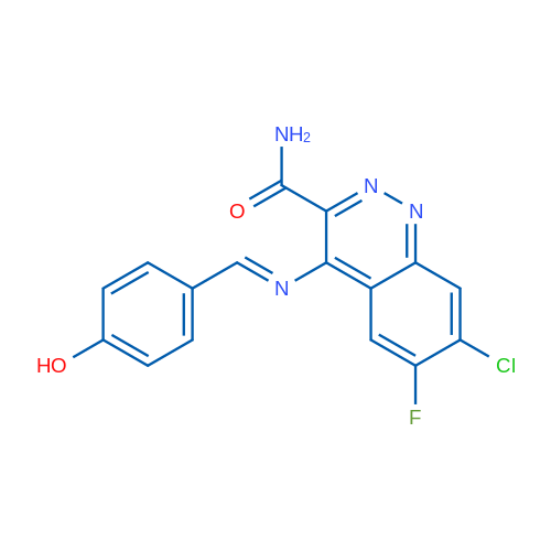 7-Chloro-6-fluoro-4-((4-hydroxybenzylidene)amino)cinnoline-3-carboxamide