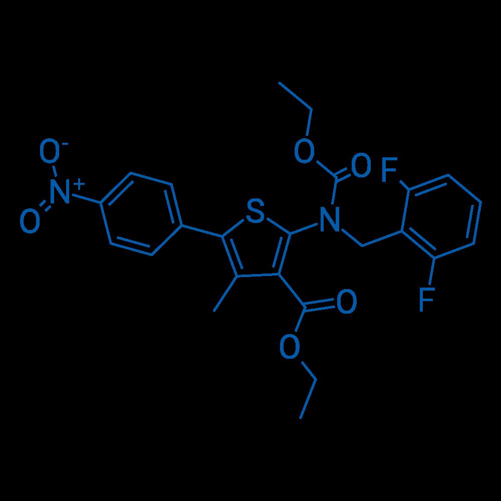 Ethyl 2-((2,6-difluorobenzyl)(ethoxycarbonyl)amino)-4-methyl-5-(4-nitrophenyl)thiophene-3-carboxylate