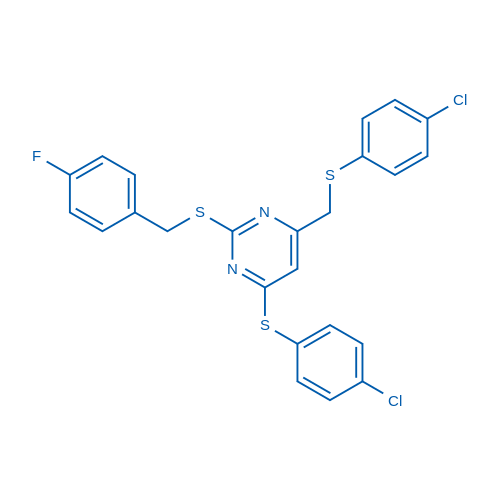 4-[(4-Chlorophenyl)sulfanyl]-6-{[(4-chlorophenyl)sulfanyl]methyl}-2-{[(4-fluorophenyl)methyl]sulfanyl}pyrimidine